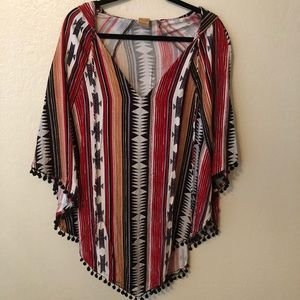 NWOT Tallow aztec print hooded tunic/coverup.